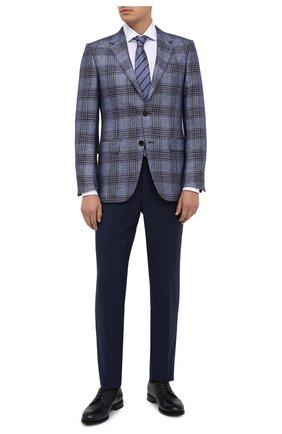 Мужские шерстяные брюки ERMENEGILDO ZEGNA синего цвета, арт. 811F03/75SB12 | Фото 2