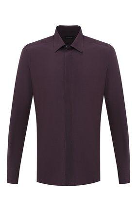 Мужская сорочка из шелка и хлопка ERMENEGILDO ZEGNA фиолетового цвета, арт. 801452/9YC0CA | Фото 1