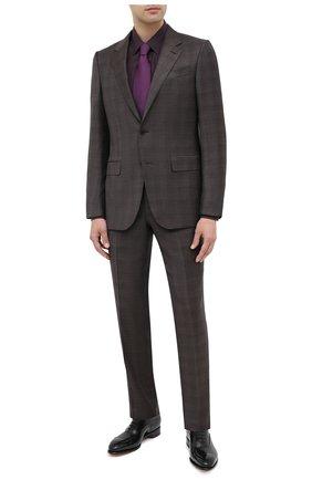 Мужская сорочка из шелка и хлопка ERMENEGILDO ZEGNA фиолетового цвета, арт. 801452/9YC0CA | Фото 2