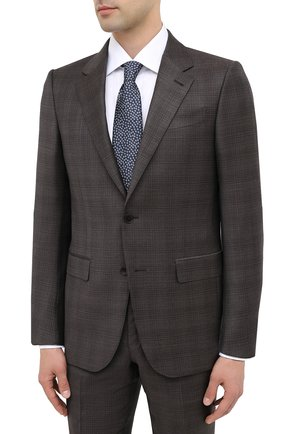 Мужской костюм шерсти и шелка ERMENEGILDO ZEGNA коричневого цвета, арт. 816540/221225 | Фото 2