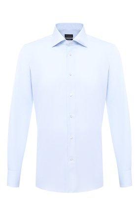 Мужская хлопковая сорочка ERMENEGILDO ZEGNA голубого цвета, арт. 801501/9MS0BR | Фото 1