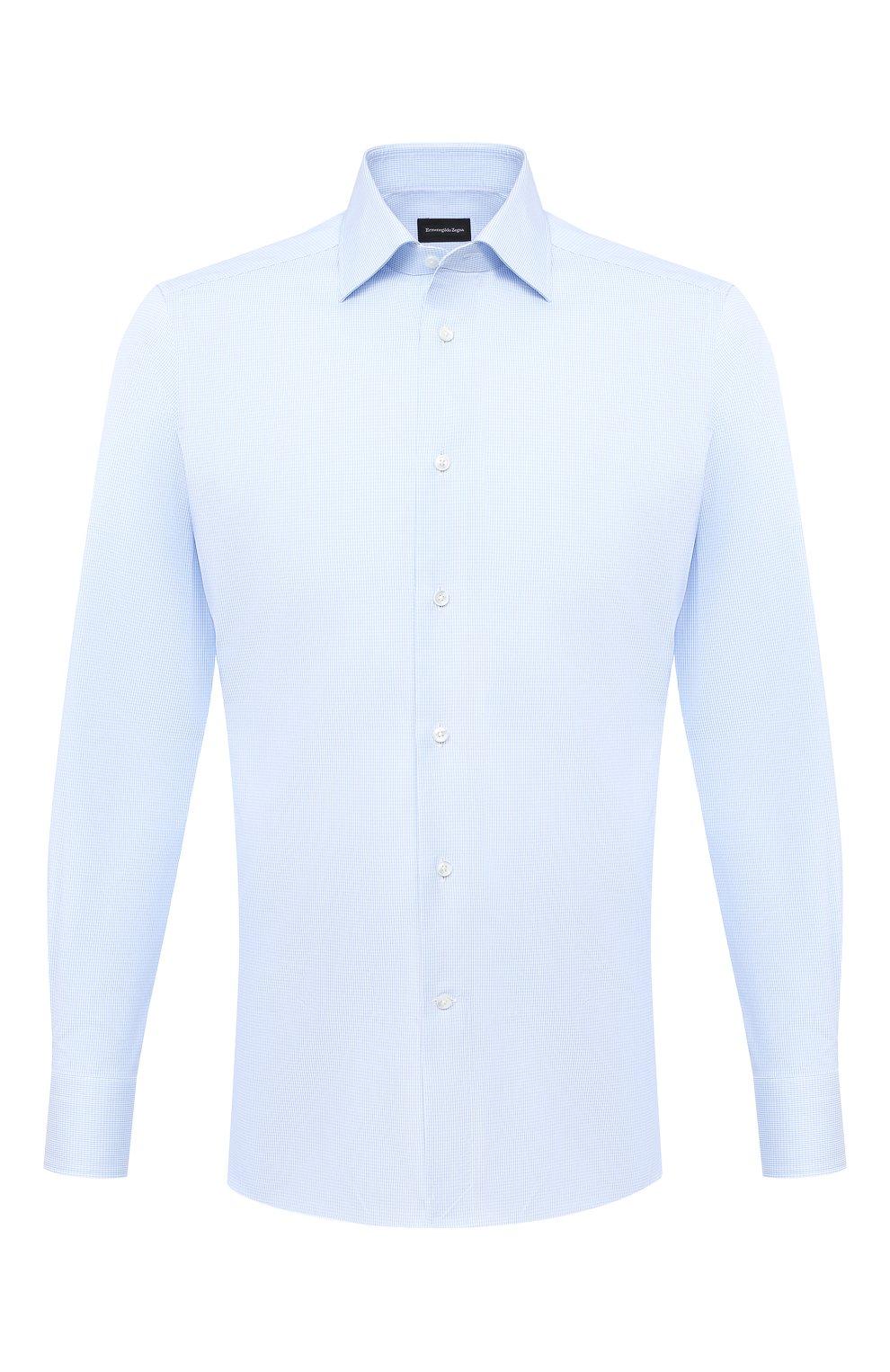Мужская хлопковая сорочка ERMENEGILDO ZEGNA голубого цвета, арт. 801262/9MS0BR   Фото 1