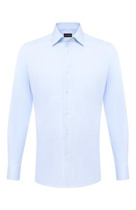 Мужская хлопковая сорочка ERMENEGILDO ZEGNA голубого цвета, арт. 801262/9MS0BR | Фото 1