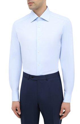 Мужская хлопковая сорочка ERMENEGILDO ZEGNA голубого цвета, арт. 801262/9MS0BR   Фото 3
