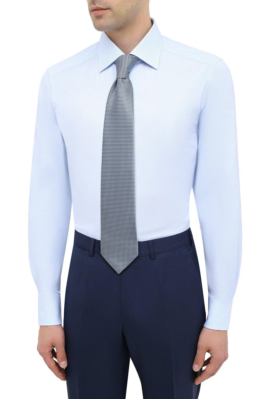 Мужская хлопковая сорочка ERMENEGILDO ZEGNA голубого цвета, арт. 801262/9MS0BR   Фото 4