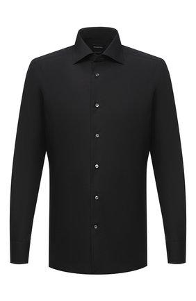 Мужская хлопковая сорочка ERMENEGILDO ZEGNA черного цвета, арт. 801069/9MS0BR | Фото 1