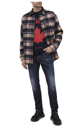 Мужская хлопковая футболка DSQUARED2 темно-синего цвета, арт. S74GD0706/S22427 | Фото 2