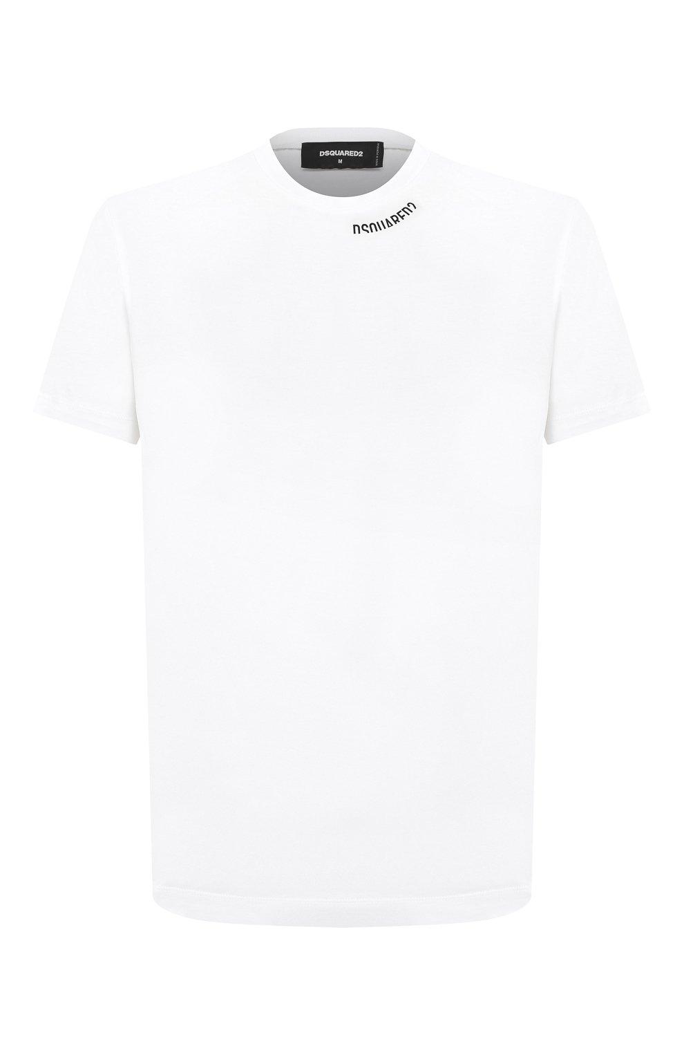 Мужская хлопковая футболка DSQUARED2 белого цвета, арт. S74GD0719/S22427   Фото 1
