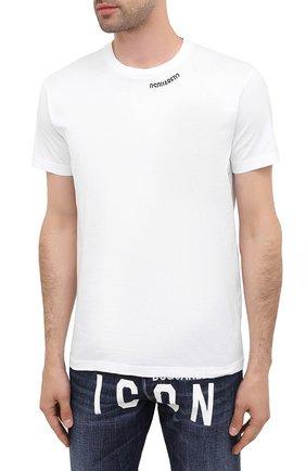Мужская хлопковая футболка DSQUARED2 белого цвета, арт. S74GD0719/S22427   Фото 3