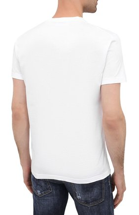 Мужская хлопковая футболка DSQUARED2 белого цвета, арт. S74GD0719/S22427   Фото 4