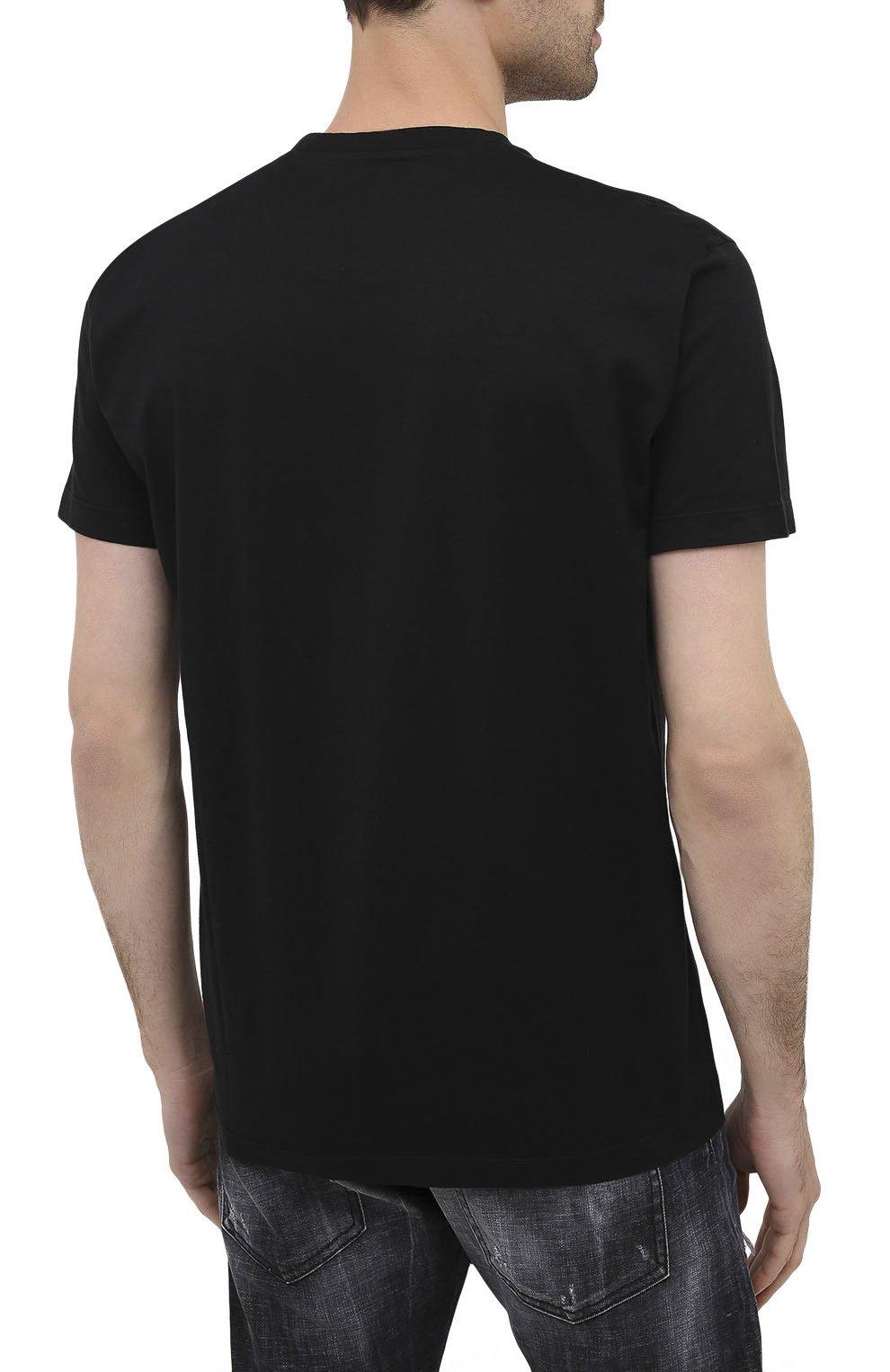Мужская хлопковая футболка DSQUARED2 черного цвета, арт. S74GD0719/S22427 | Фото 4