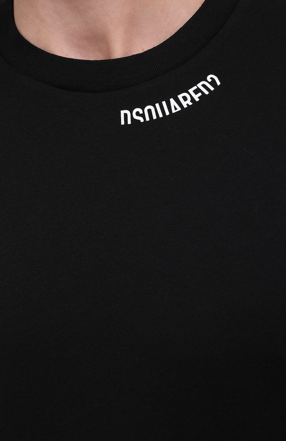 Мужская хлопковая футболка DSQUARED2 черного цвета, арт. S74GD0719/S22427 | Фото 5