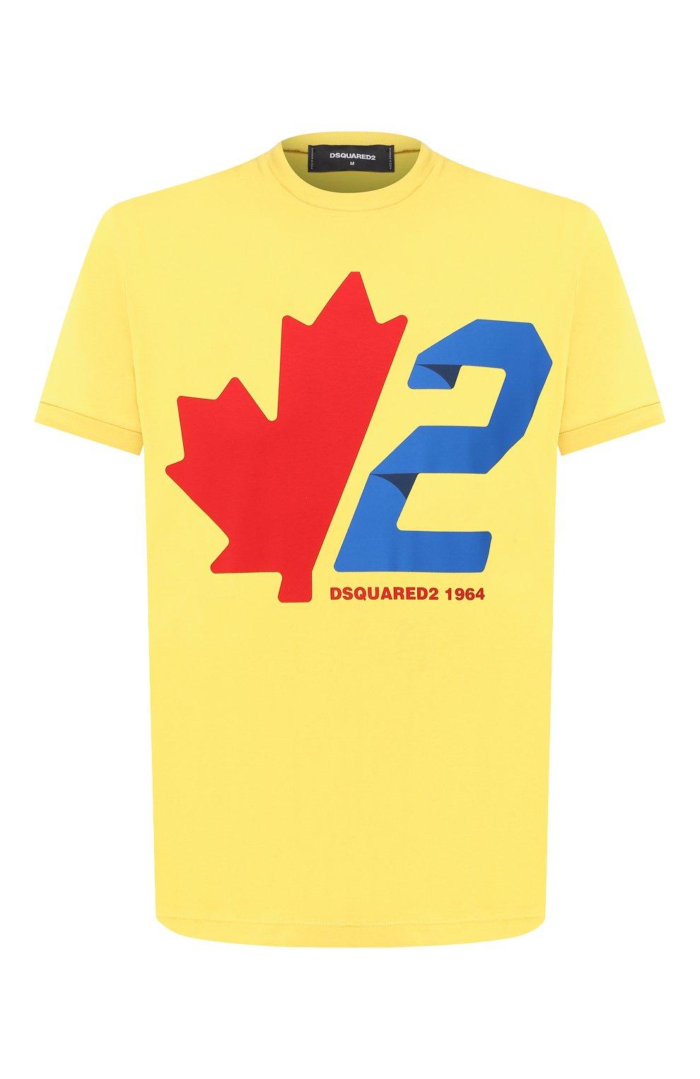 Мужская хлопковая футболка DSQUARED2 желтого цвета, арт. S74GD0756/S22427 | Фото 1