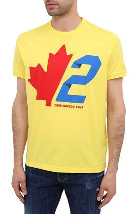 Мужская хлопковая футболка DSQUARED2 желтого цвета, арт. S74GD0756/S22427 | Фото 3