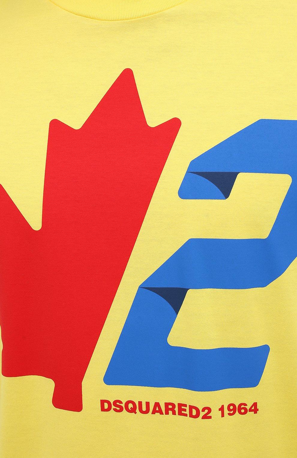 Мужская хлопковая футболка DSQUARED2 желтого цвета, арт. S74GD0756/S22427 | Фото 5