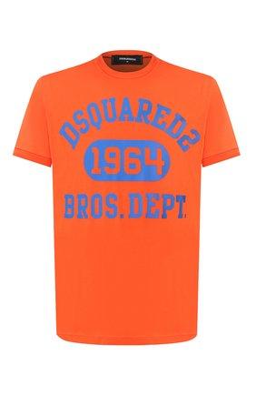 Мужская хлопковая футболка DSQUARED2 оранжевого цвета, арт. S74GD0759/S22427 | Фото 1