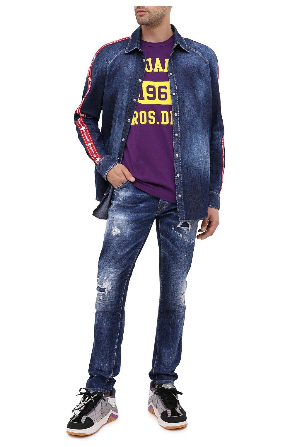 Мужская хлопковая футболка DSQUARED2 фиолетового цвета, арт. S74GD0759/S22427 | Фото 2