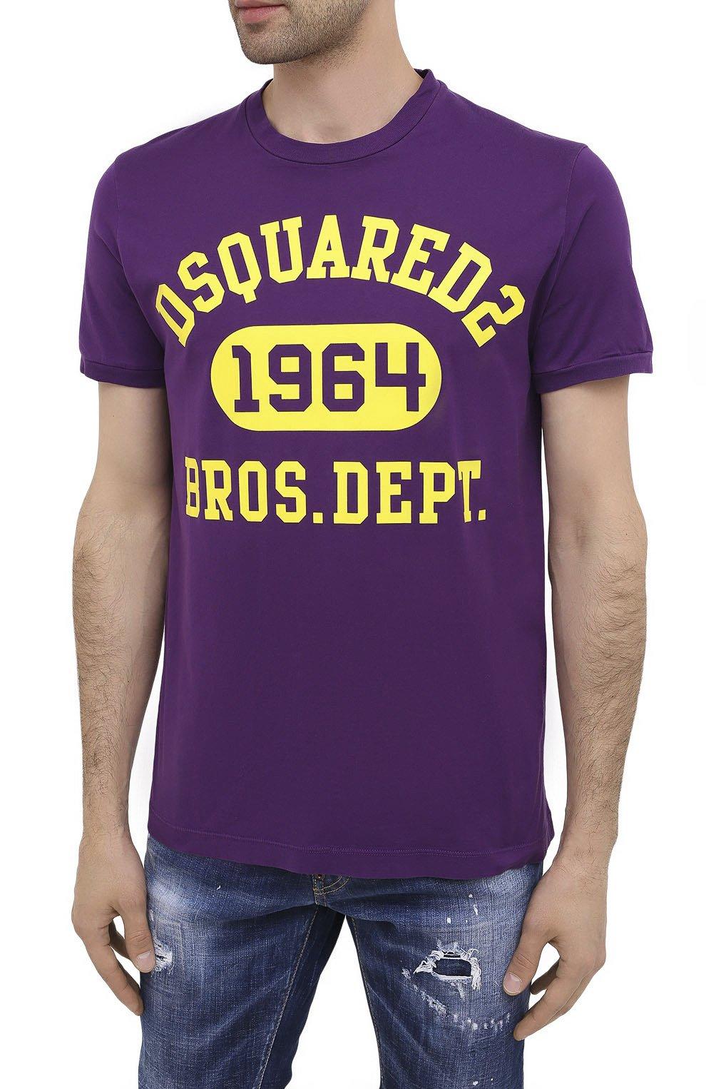 Мужская хлопковая футболка DSQUARED2 фиолетового цвета, арт. S74GD0759/S22427 | Фото 3