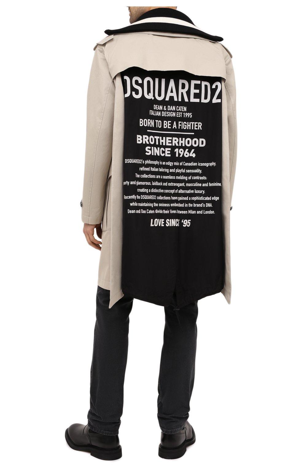 Мужской хлопковый плащ DSQUARED2 светло-серого цвета, арт. S74AH0096/S41794   Фото 2