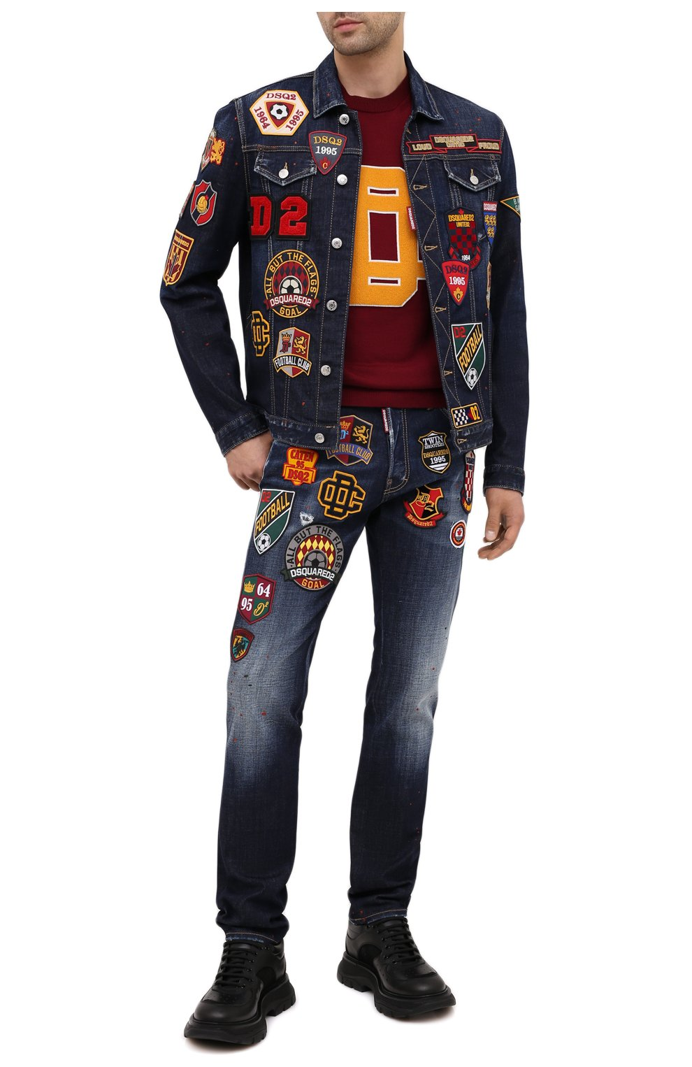 Мужская джинсовая куртка DSQUARED2 синего цвета, арт. S74AM1079/S30664 | Фото 2