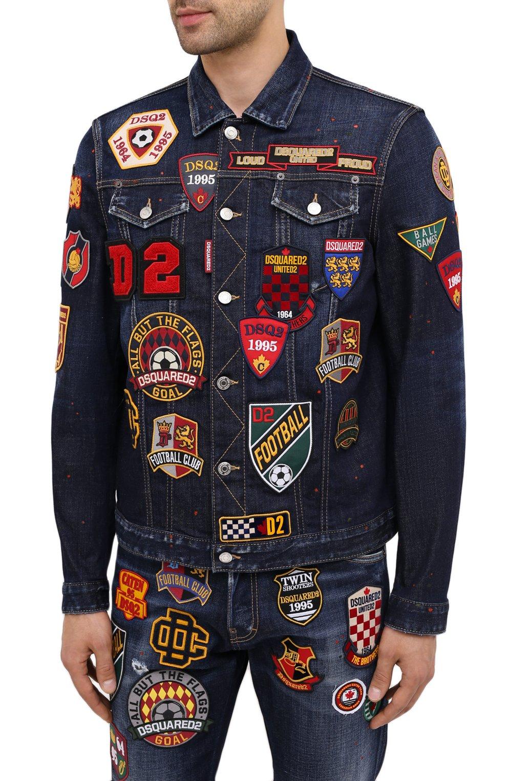 Мужская джинсовая куртка DSQUARED2 синего цвета, арт. S74AM1079/S30664 | Фото 3