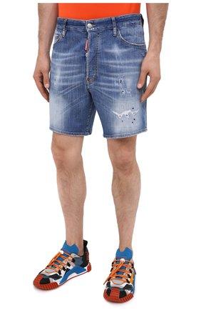 Мужские джинсовые шорты DSQUARED2 синего цвета, арт. S74MU0607/S30342 | Фото 3