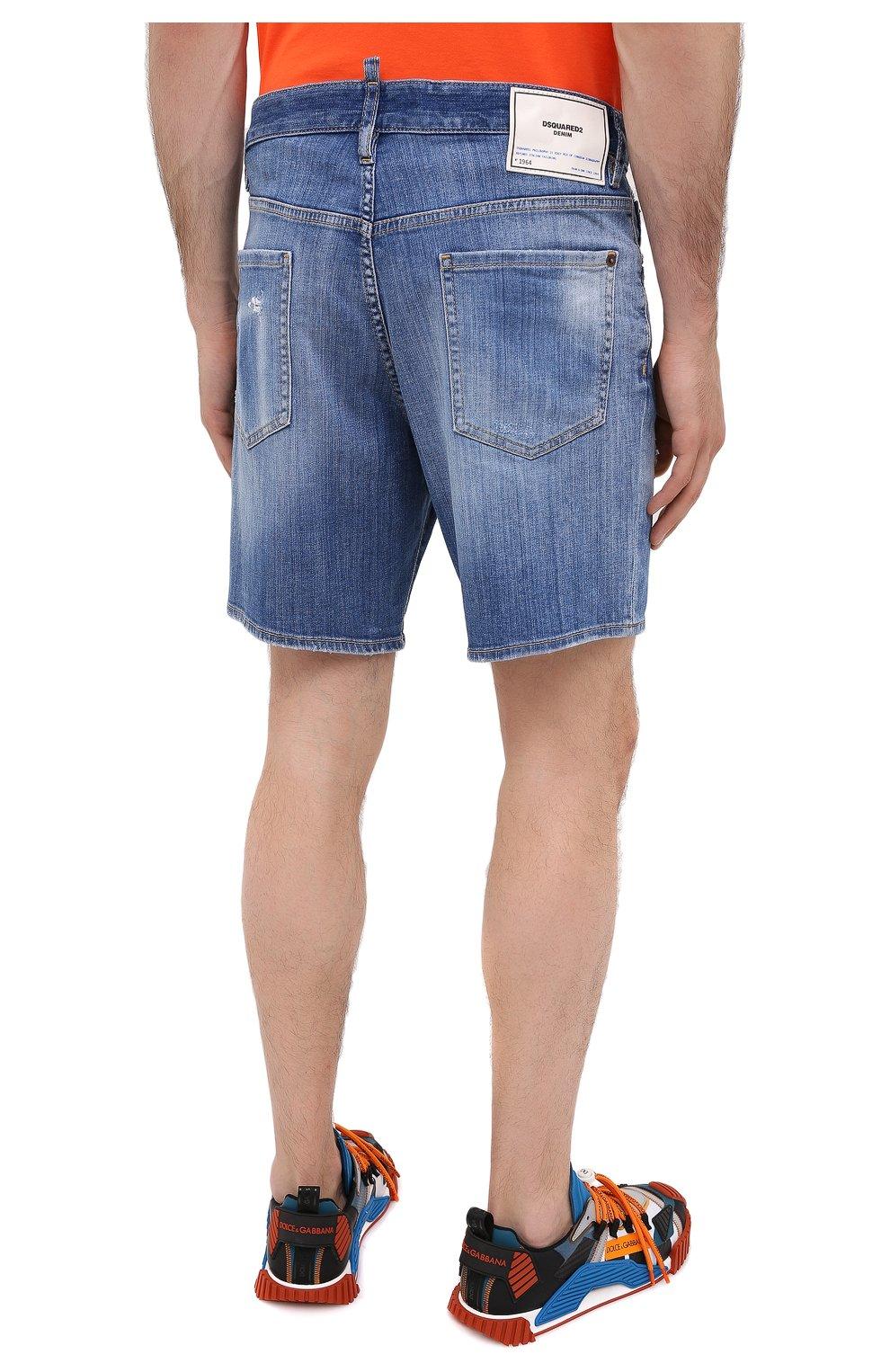 Мужские джинсовые шорты DSQUARED2 синего цвета, арт. S74MU0607/S30342 | Фото 4
