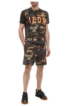 Мужские хлопковые шорты DSQUARED2 хаки цвета, арт. S79MU0008/S25469 | Фото 2