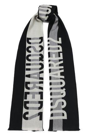 Мужской шерстяной шарф DSQUARED2 черного цвета, арт. SCM0020 01W03174   Фото 1