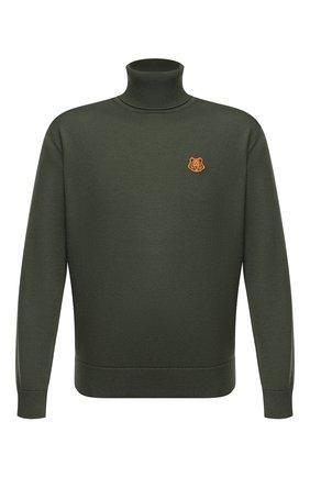 Мужской шерстяной свитер KENZO хаки цвета, арт. FA65PU5383TA   Фото 1