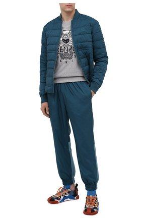 Мужской хлопковый свитшот KENZO серого цвета, арт. FA65SW1114XV | Фото 2 (Материал внешний: Хлопок; Длина (для топов): Стандартные; Рукава: Длинные; Стили: Спорт-шик; Принт: С принтом; Мужское Кросс-КТ: свитшот-одежда)