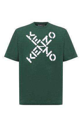 Мужская хлопковая футболка kenzo sport KENZO зеленого цвета, арт. FA65TS5024SJ   Фото 1
