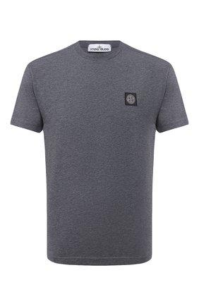 Мужская хлопковая футболка STONE ISLAND темно-серого цвета, арт. 731524113 | Фото 1