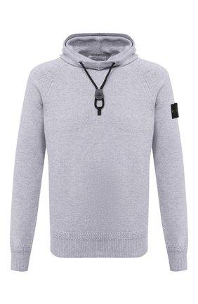 Мужской свитер из хлопка и шерсти STONE ISLAND светло-серого цвета, арт. 7315550A7   Фото 1