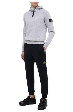 Мужской свитер из хлопка и шерсти STONE ISLAND светло-серого цвета, арт. 7315550A7 | Фото 2