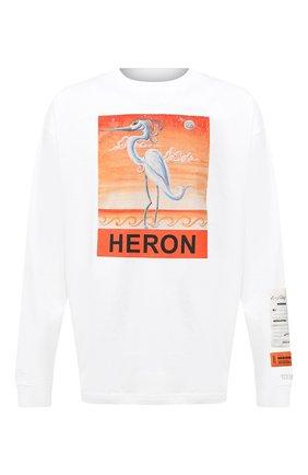 Мужская хлопковый лонгслив HERON PRESTON белого цвета, арт. HMAB015F20JER0100120 | Фото 1