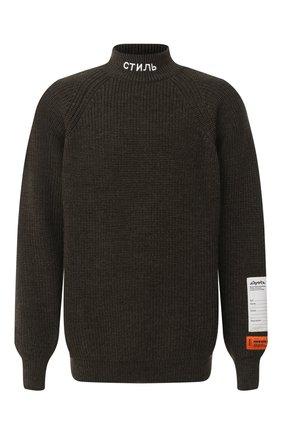 Мужской шерстяной свитер HERON PRESTON хаки цвета, арт. HMHF001F20KNI0015500 | Фото 1