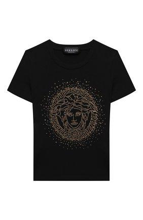 Детская хлопковая футболка VERSACE черного цвета, арт. YC000438/YA00019/4A-6A | Фото 1