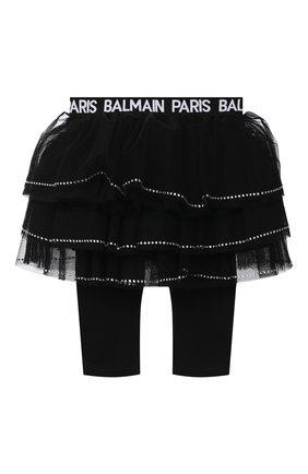 Детская леггинсы с юбкой BALMAIN черного цвета, арт. 6N7310/NE530/12-36M | Фото 1