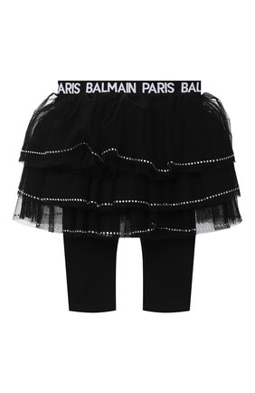 Детская леггинсы с юбкой BALMAIN черного цвета, арт. 6N7310/NE530/3-9M | Фото 1