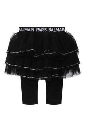 Детская леггинсы с юбкой BALMAIN черного цвета, арт. 6N7310/NE530/3-9M | Фото 2