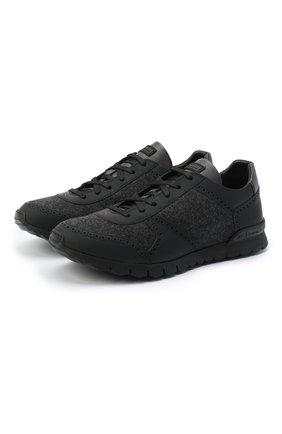 Мужские комбинированные кроссовки KITON черного цвета, арт. USSARGBN00675 | Фото 1