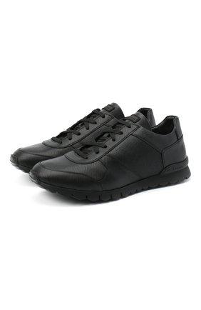Мужские кожаные кроссовки KITON черного цвета, арт. USSVLAZN00709 | Фото 1
