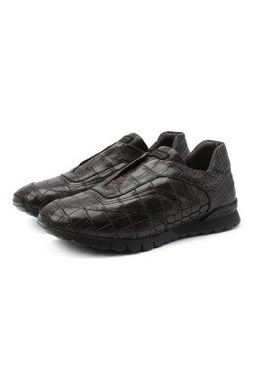Мужские кроссовки из кожи аллигатора KITON коричневого цвета, арт. USSFREEN00102/AMIS | Фото 1