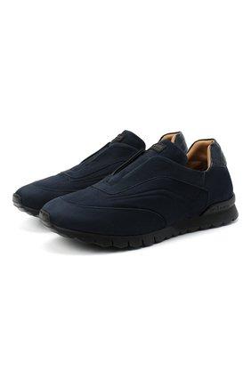 Мужские кроссовки с отделкой из кожи аллигатора KITON синего цвета, арт. USSFREEN00682/CNIL | Фото 1