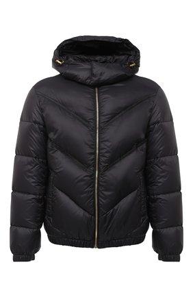 Мужская пуховая куртка VERSACE черного цвета, арт. A87434/A233255 | Фото 1 (Материал внешний: Синтетический материал; Длина (верхняя одежда): Короткие; Рукава: Длинные; Мужское Кросс-КТ: пуховик-короткий, Пуховик-верхняя одежда, Верхняя одежда; Кросс-КТ: Куртка, Пуховик; Стили: Кэжуэл; Материал подклада: Синтетический материал; Материал утеплителя: Пух и перо)