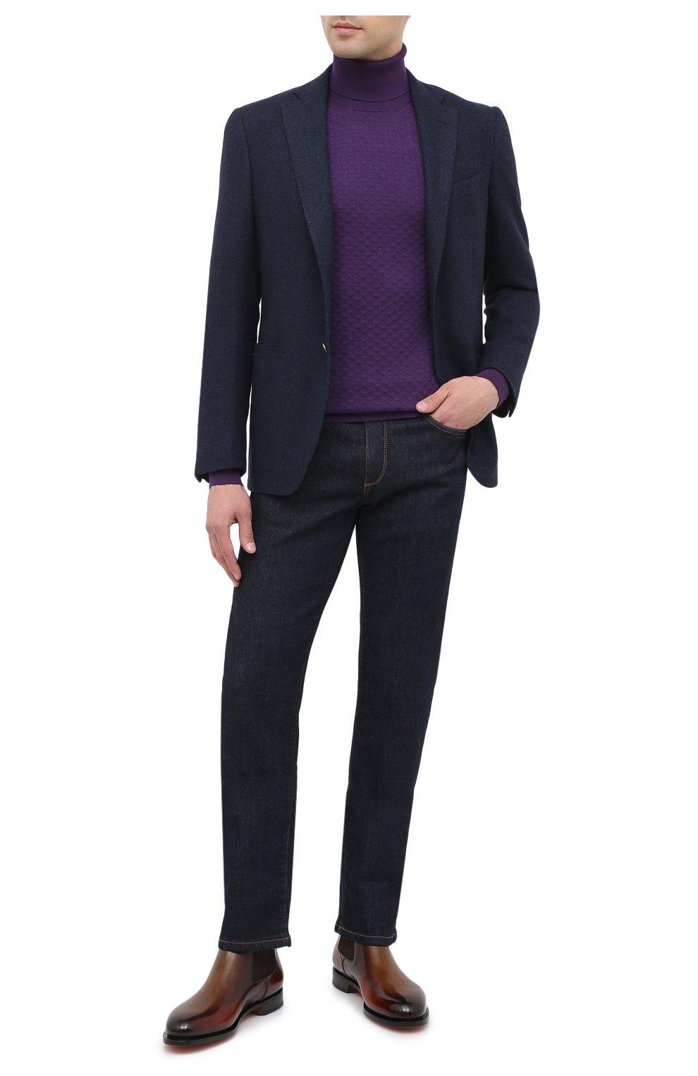 Мужской водолазка из кашемира и шелка IL BORGO CASHMERE фиолетового цвета, арт. 56-532-01G0   Фото 2