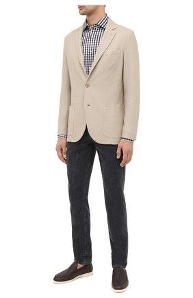 Мужская хлопковая рубашка LUIGI BORRELLI коричневого цвета, арт. EV08/NAND0/TS30127   Фото 2