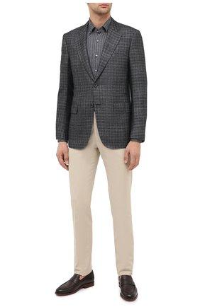 Мужская рубашка из шелка и хлопка ZILLI серого цвета, арт. MFU-00802-66025/0001 | Фото 2