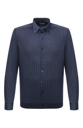 Мужская рубашка из шелка и хлопка ZILLI темно-синего цвета, арт. MFU-00802-66025/0001 | Фото 1